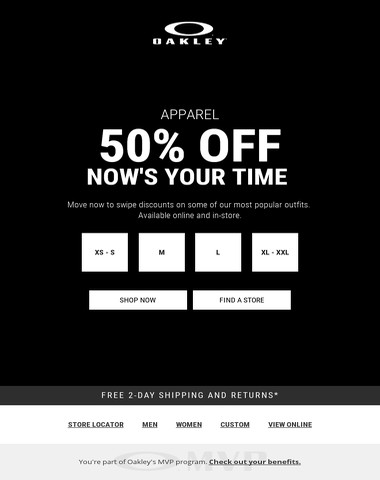50% Off Apparel | Now's Your Time
