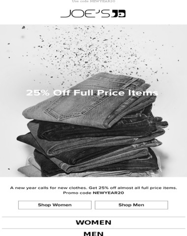 Save 25% on full price items