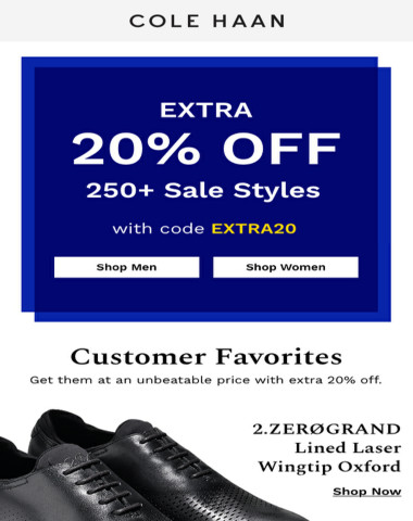 Get an extra 20% off customer-favorite styles