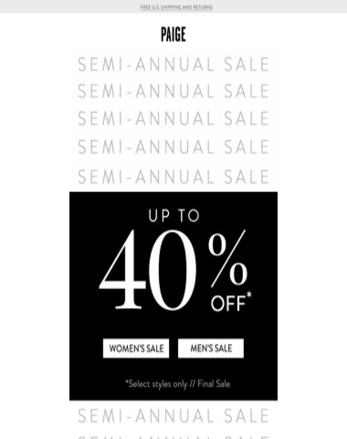 Up to 40% off // Semi-Annual Sale Continues