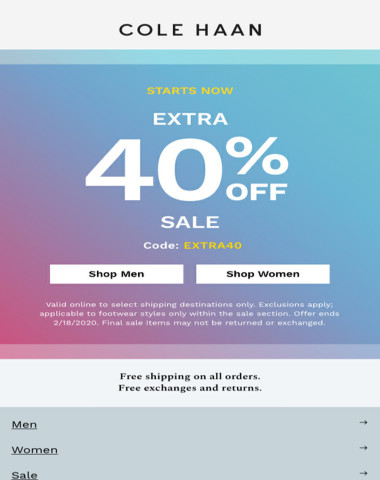 It's official: Extra 40% off sale starts now.