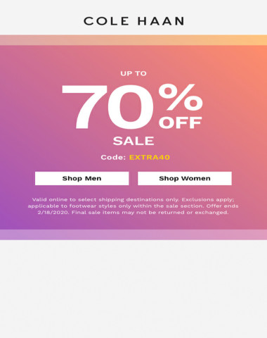 Up to 70% off styles you're eyeing