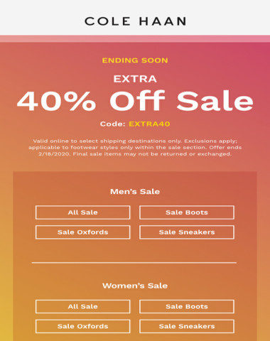 Extra 40% off ends soon