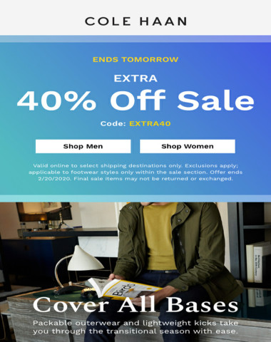 40% off sale ends tomorrow + shop new outerwear styles