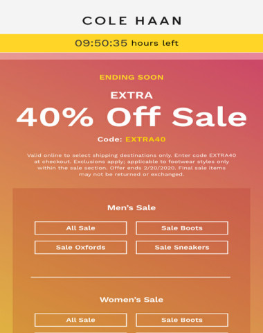 Final hours to get extra 40% off sale