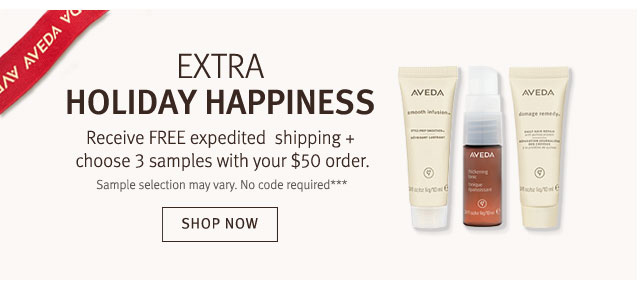 receive free expedited shipping and choose 3 samples with your $50 order. shop now.