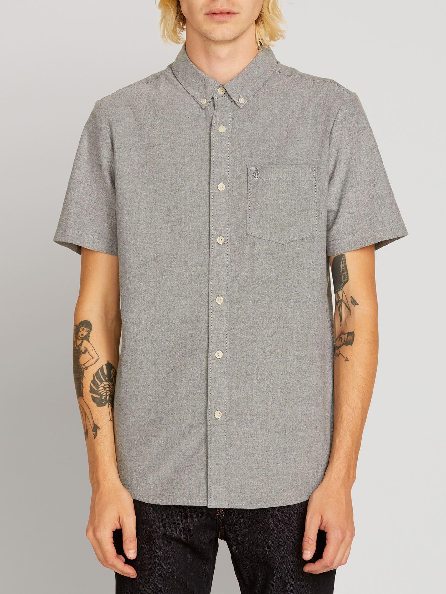 Everett Oxford Short Sleeve Shirt - Black - BLACK / XL