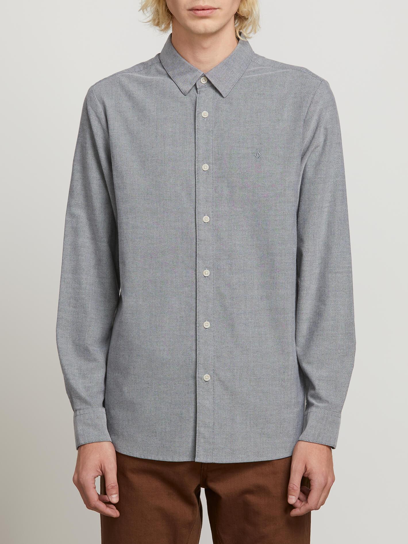 Oxford Stretch Long Sleeve Shirt - Black - BLACK / S