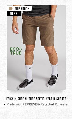 Mens Frickin Surf N' Turf Static Hybrid Shorts - Mushroom