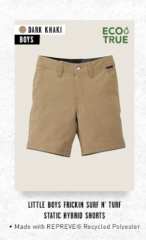 Little Boys Frickin Surf N' Turf Static Hybrid Shorts - Dark Khaki