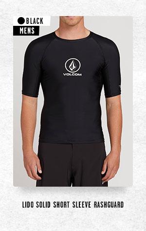 Mens Lido Solid Short Sleeve Rashguard - Black