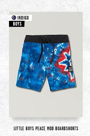 Little Boys Peace Mod Boardshorts - Indigo
