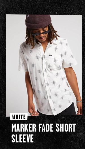Mens Marker Fade Short Sleeve - White