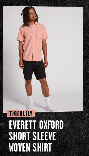 Mens Everett Oxford Short Sleeve Woven Shirt - Tigerlily