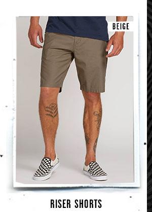 Mens Riser Shorts - Beige