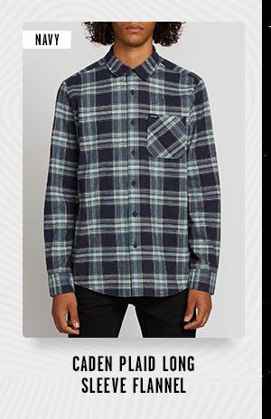 Mens Caden Plaid Long Sleeve Flannel - Navy