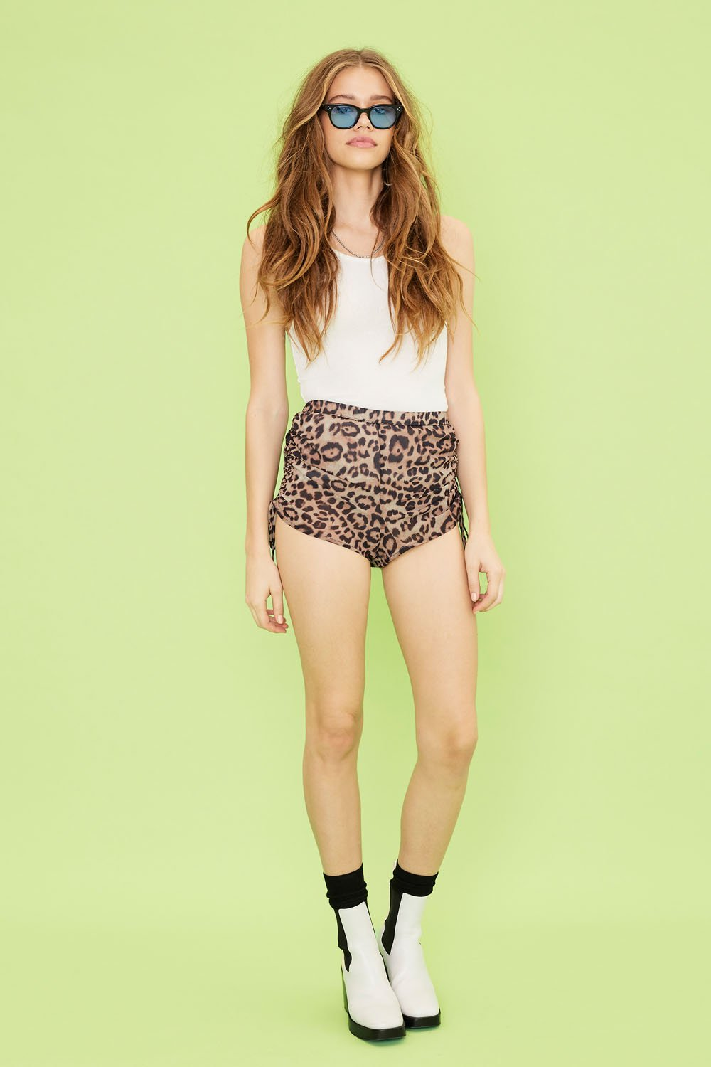 Image of Viper Rouched Shorts - Leopard