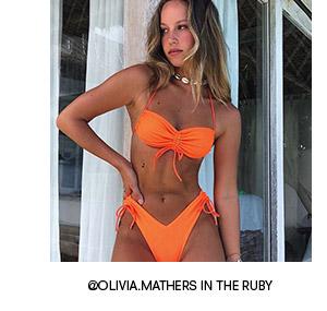 frankies bikinis swimwear ruby top tangerine