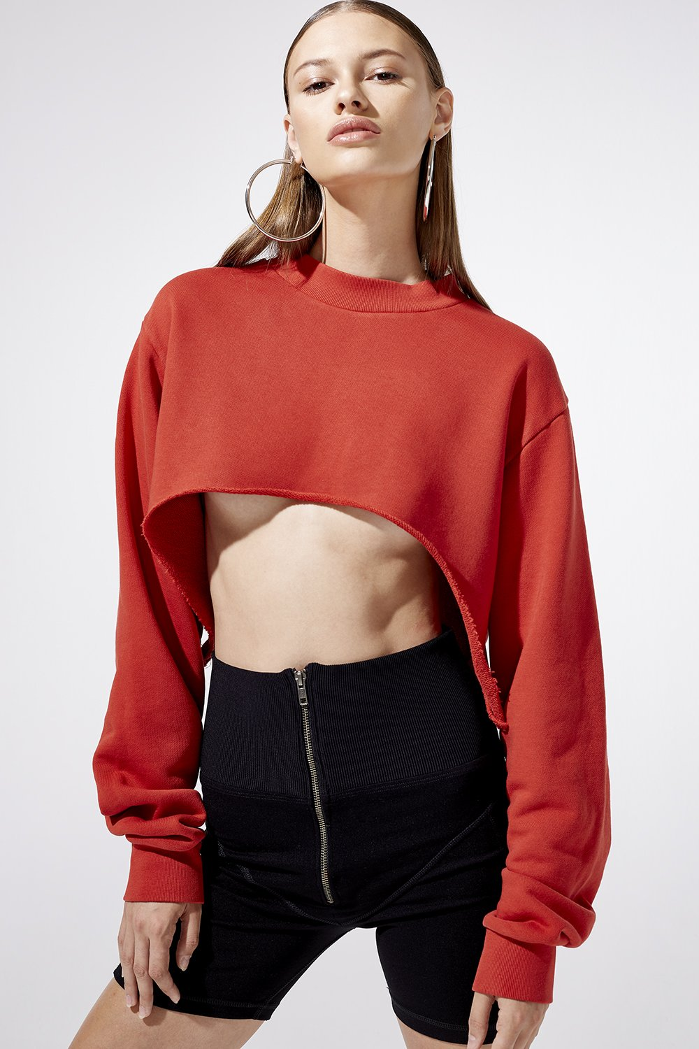 Image of Swerve Cut Out Sweatshirt - Red