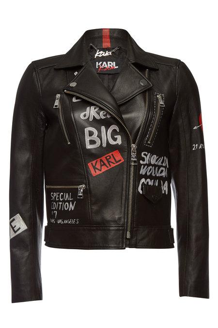 Printed Leather Jacket | KARL X KAIA GERBER