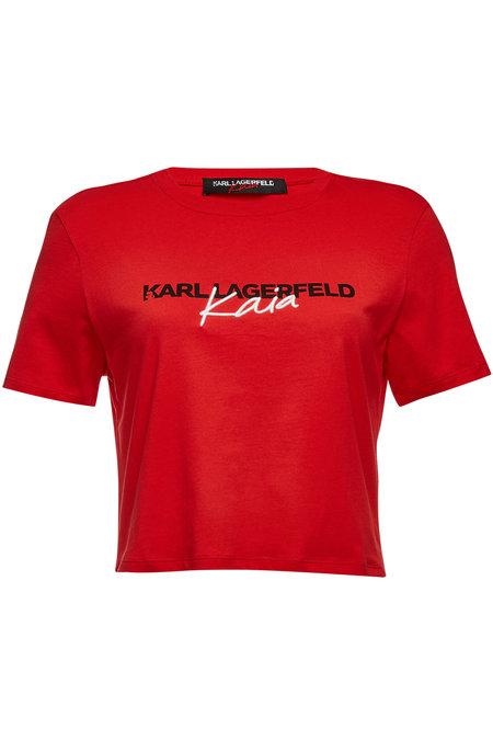 Embroidered Cotton T-Shirt | KARL X KAIA GERBER
