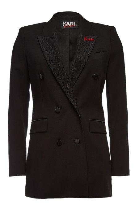 Virgin Wool Blazer with Embellishment | KARL X KAIA GERBER