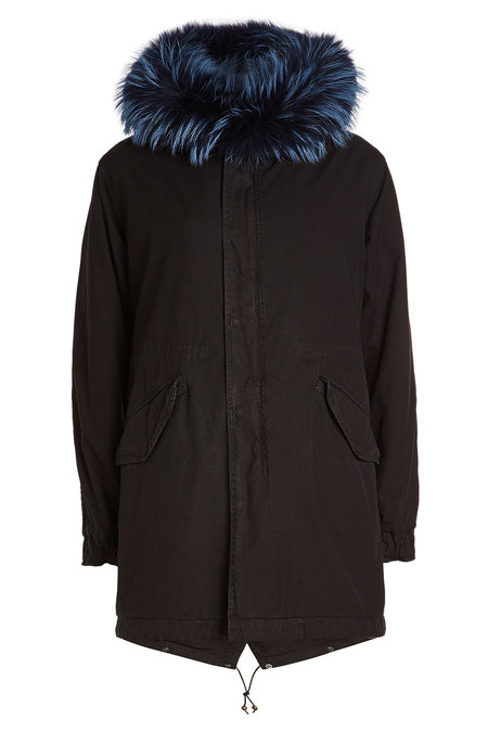 Midi Cotton Parka with Leather and Fur | MR & MRS ITALY