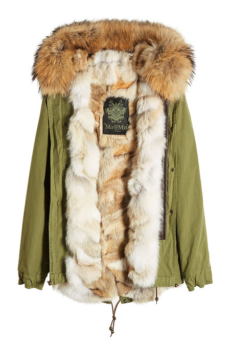 Army Mini Cotton Parka with Raccoon and Coyote Fur | MR & MRS ITALY