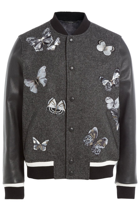 Wool Bomber Jacket with Leather Sleeves | VALENTINO