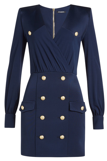 Draped Dress with Embossed Buttons   BALMAIN