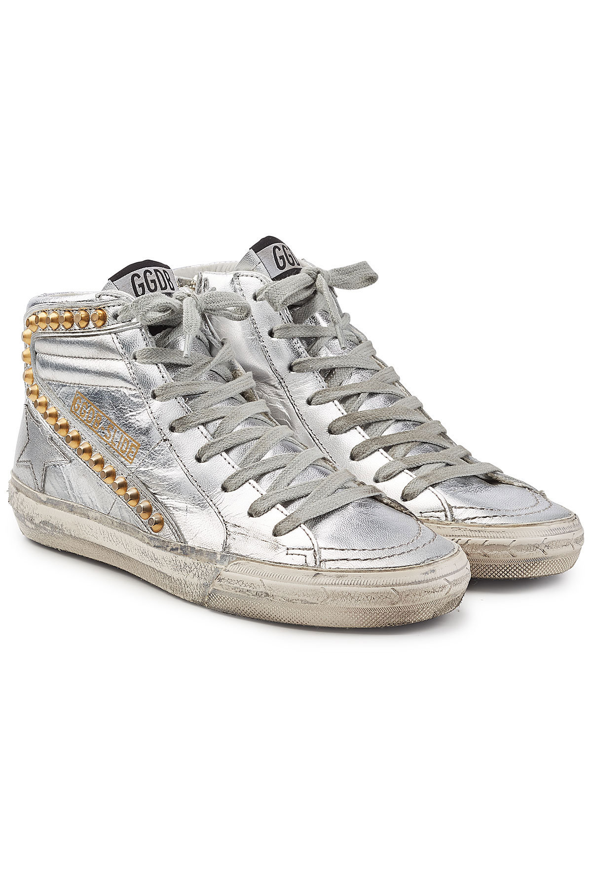 Slide Metallic Leather Sneakers with Studs | GOLDEN GOOSE DELUXE BRAND
