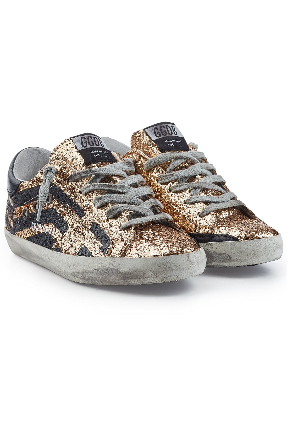 Super Star Leather and Glitter Sneaker | GOLDEN GOOSE DELUXE BRAND