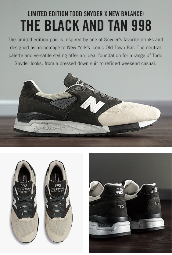 buy popular bd4dd 1a305 Todd Snyder - EXCLUSIVE: The TS + New Balance Black and Tan 998