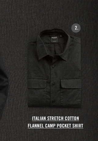 ITALIAN STRETCH COTTON FLANNEL CAMP POCKET SHIRT IN CHARCOAL