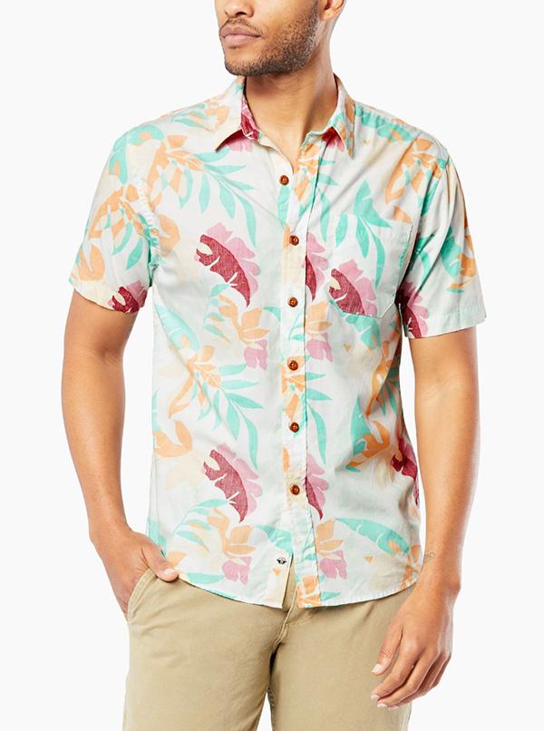 Resort Shirt, Button-Up Spa Blue Print