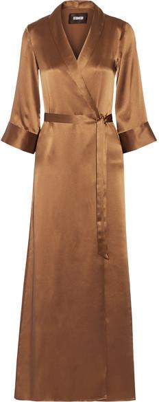 Reformation Silk Wrap Maxi Dress - Bronze