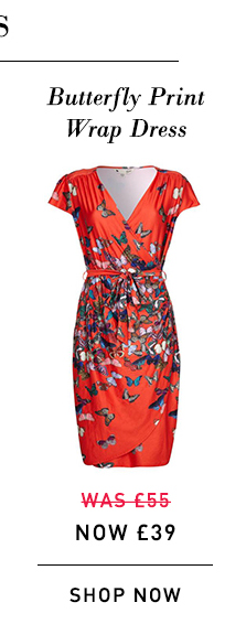 Butterfly Print Wrap Dress