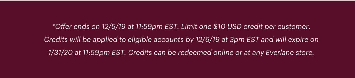 Offer ends on 12/5