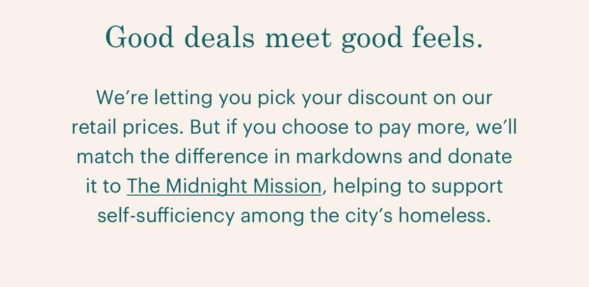 Good deals meet good feels.