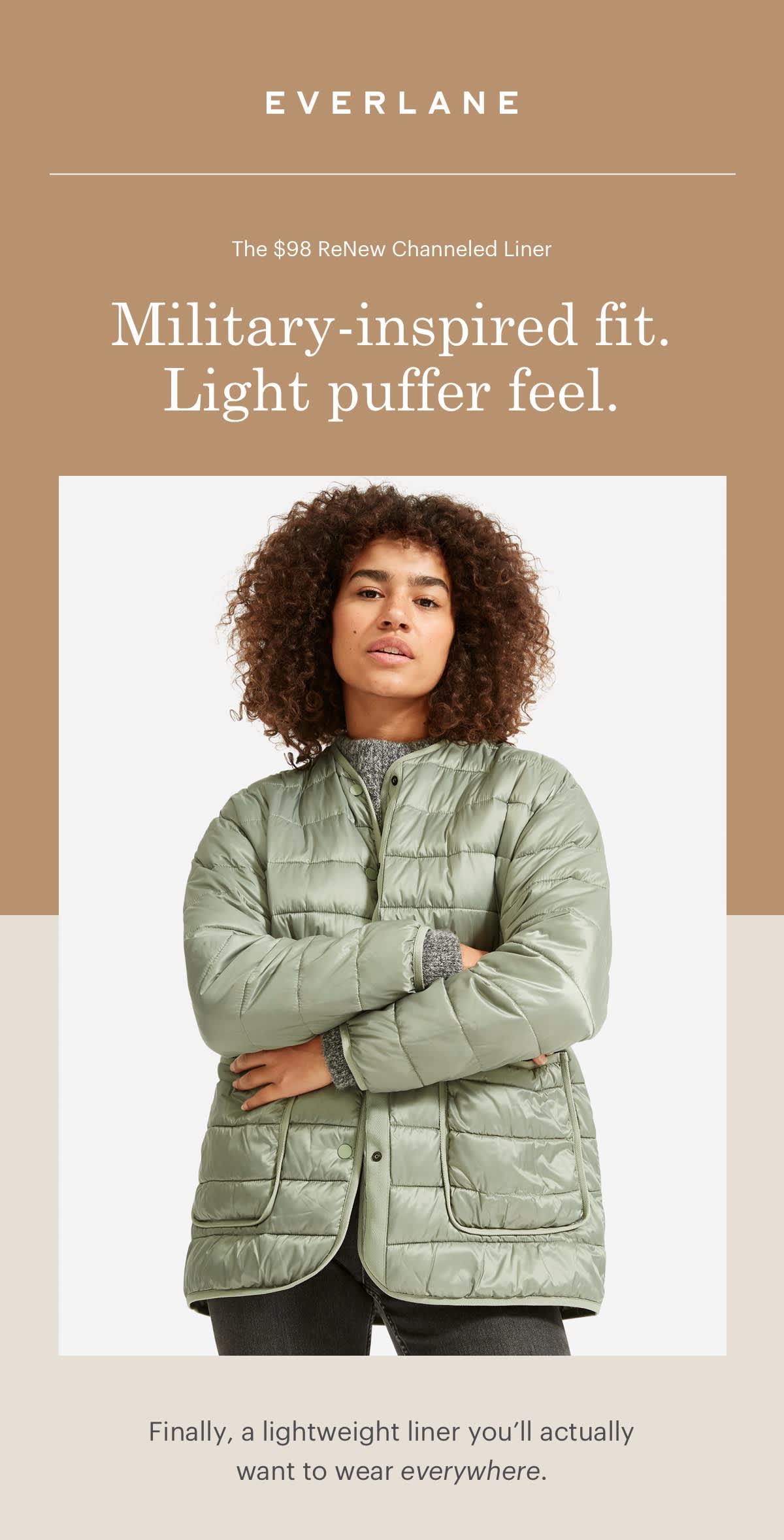 Military-inspired fit. Light puffer feel.