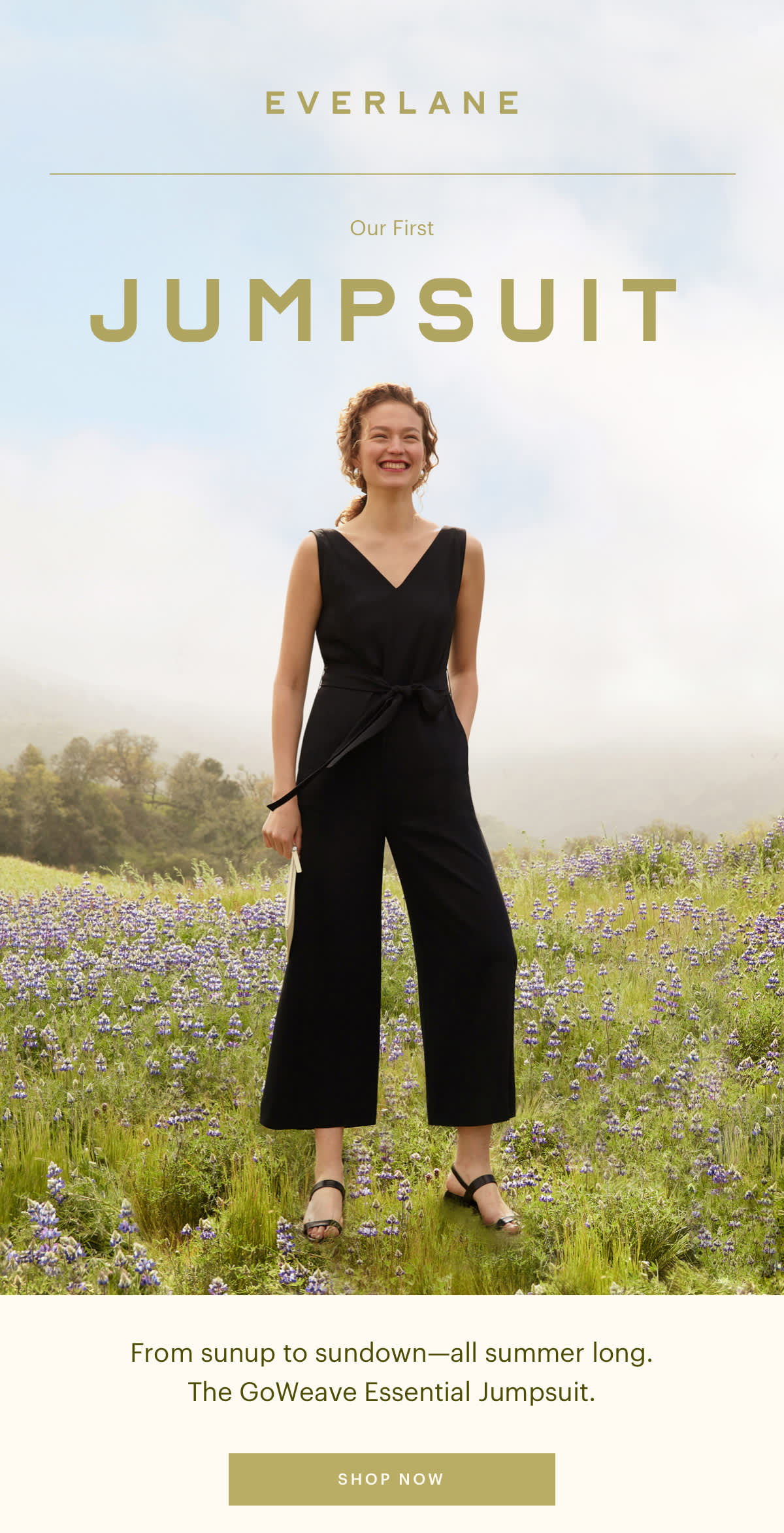 From sunup to sundown--all summer long. The GoWeave Essential Jumpsuit. SHOP NOW