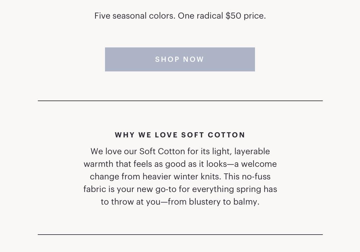 Five seasonal colors. One radical $50 price.