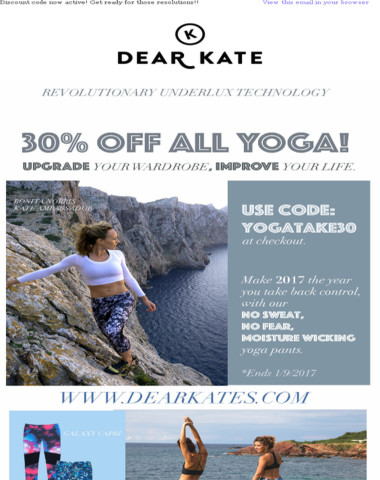 Take 30% off all Dear Kate yoga!! YOGATAKE30 discount code now active!