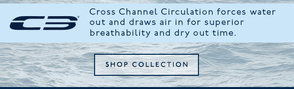 Cross Channel Circulation forces water out and draws are in for superior breathability and dry out time.