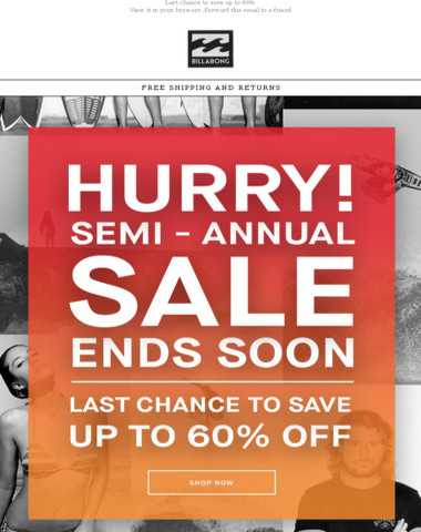 Hurry! Final days of the Semi-Annual Sale