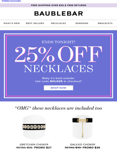 25% off necklaces ends TONIGHT!