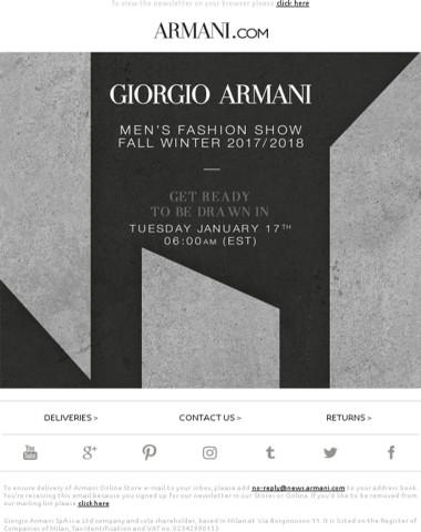 Don't miss the Giorgio Armani FW17/18 Men's fashion show