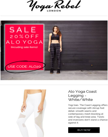 20% OFF ALO YOGA TODAY!