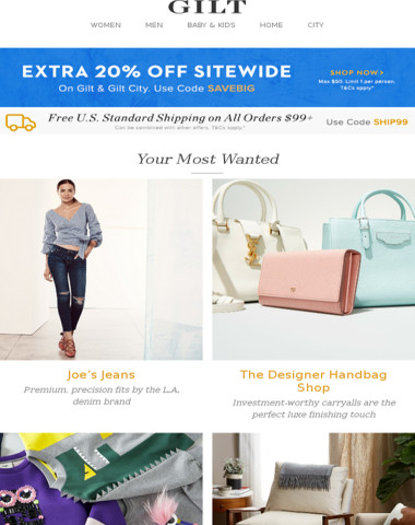 Extra 20% Off Everything   Joe's Jeans, The Designer Handbag Shop, Fendi Clothes for Baby & Kids and More Start Today at 9pm ET