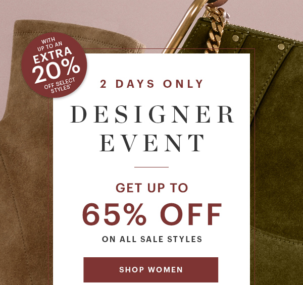 DESIGNER EVENT, UP TO 65% OFF, SHOP WOMEN